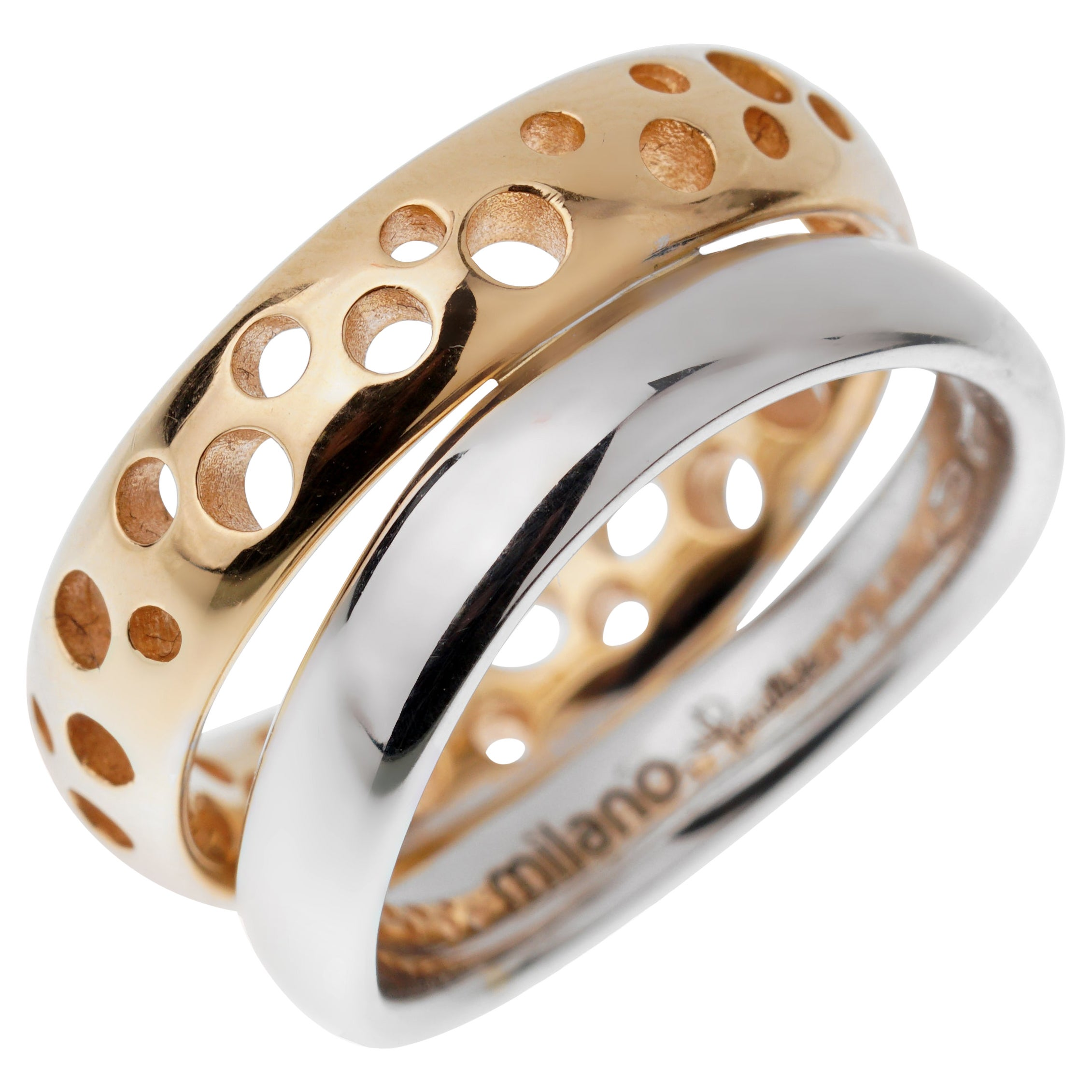 Pomellato White Rose Bubble Stacking Band Rings