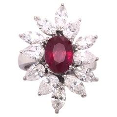 Burma Ruby & Diamond 18k White Gold Cocktail Ring