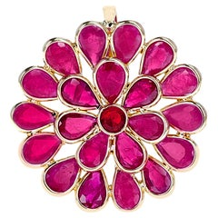 Floral 4.30 Ct. Ruby Pendant, 18k Yellow Gold