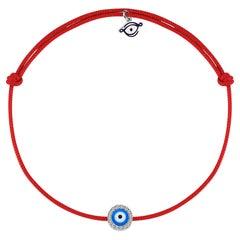 Diamond Evil Eye Protection 18K Gold, String Bracelet in Red, Blue and Black