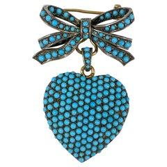 Mid-Century Persian Turquoise Heart Bow Ribbon Locket Brooch/Pendant Yellow Gold