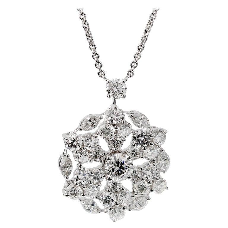 Graff Snowflake 6.67ct Diamond White Gold Neckace For Sale