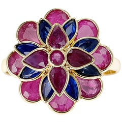 Ruby and Sapphire Floral Ring, 18K Yellow Gold