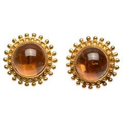 Elizabeth Locke Large Round Citrine Earrings