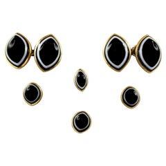 Early 20th Century Set Tuxedo Cufflinks Black White Onyx 18 Karat Yellow Gold