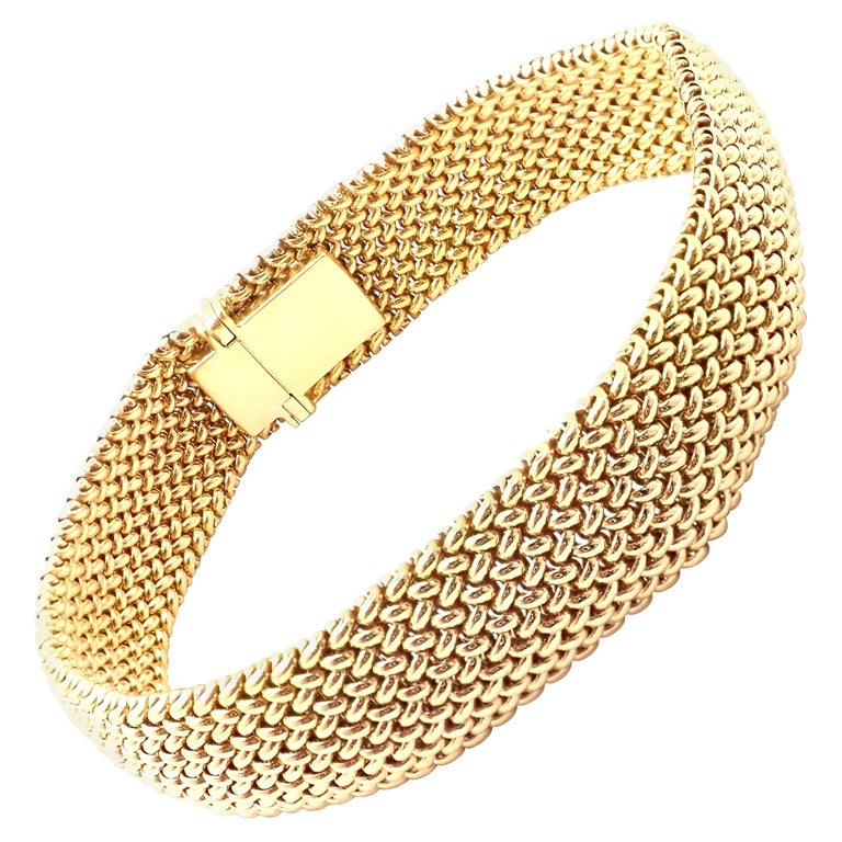 Tiffany & Co. Somerset Mesh Yellow Gold Bracelet For Sale