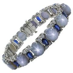 Oscar Heyman Platinum Star Sapphire, Sapphire & Diamond Bracelet