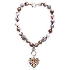 Clarissa Bronfman Emerald Sapphire Citrine Ruby Diamond Agate Heart Necklace