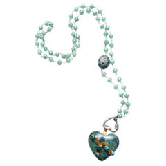 Clarissa Bronfman Agate Emerald Jade Chalcedony 14k Gold Heart Rosary Necklace