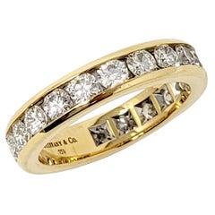 Tiffany & Co. Channel Set Diamond Eternity Anniversary Band Ring 18 Karat Gold