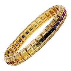 Diamond and Multi-Colored Sapphire Rainbow Link Bracelet 18 Karat Yellow Gold