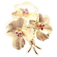 Tiffany & Co. Ruby Flower Yellow Gold Brooch Pin