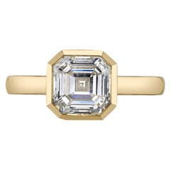 Handcrafted Wyler Asscher Cut Diamond Ring by Single Stone