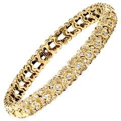 Sonia B. Pave Diamond Floral Motif Flexible Cuff Bracelet 14 Karat Yellow Gold