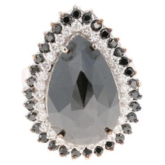11.43 Carat Black and White Diamond 18 Karat White Gold Cocktail Ring