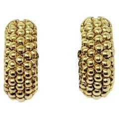 Fope Luci 18 Karat Yellow Gold Beaded Design U-Shaped Hoop Pierced Earrings