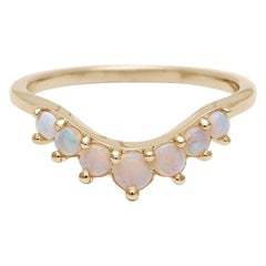 Anna Sheffield 14 Karat Gold Opal Cosmic Tiara Curve Wedding Band