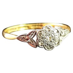 Antique Diamond Flower Ring, 18 Karat Yellow Gold and Platinum
