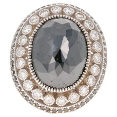 20.34 Carat Black White Diamond 18 Karat White Gold Cocktail Ring