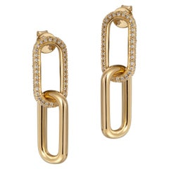 Double Paperclip Pave Earrings