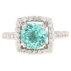 2.95 Carat Apatite Diamond 18 Karat White Gold Ring