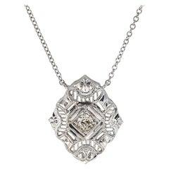 Art Deco Diamond Filigree White Gold Pendant Necklace