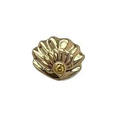 Yellow Diamond Neoclassical Clam Shell Stud in 18ct Yellow Gold