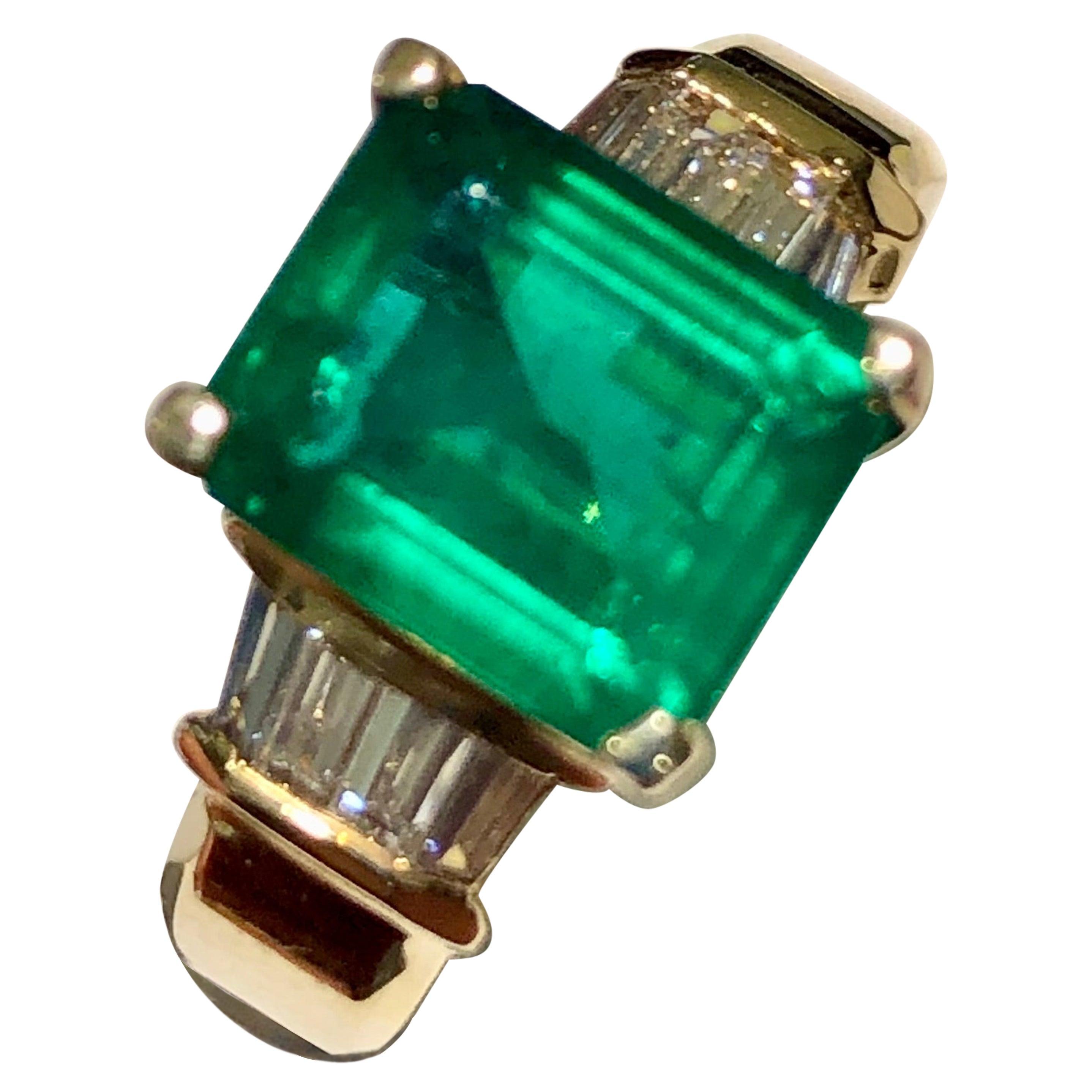3.30 Carat Emerald and Diamond Estate Engagement Ring Gold