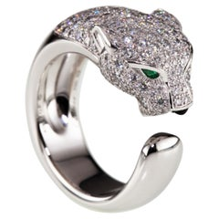 Panthere de Cartier Diamond Band Ring w/ Emerald and Onyx in White Gold
