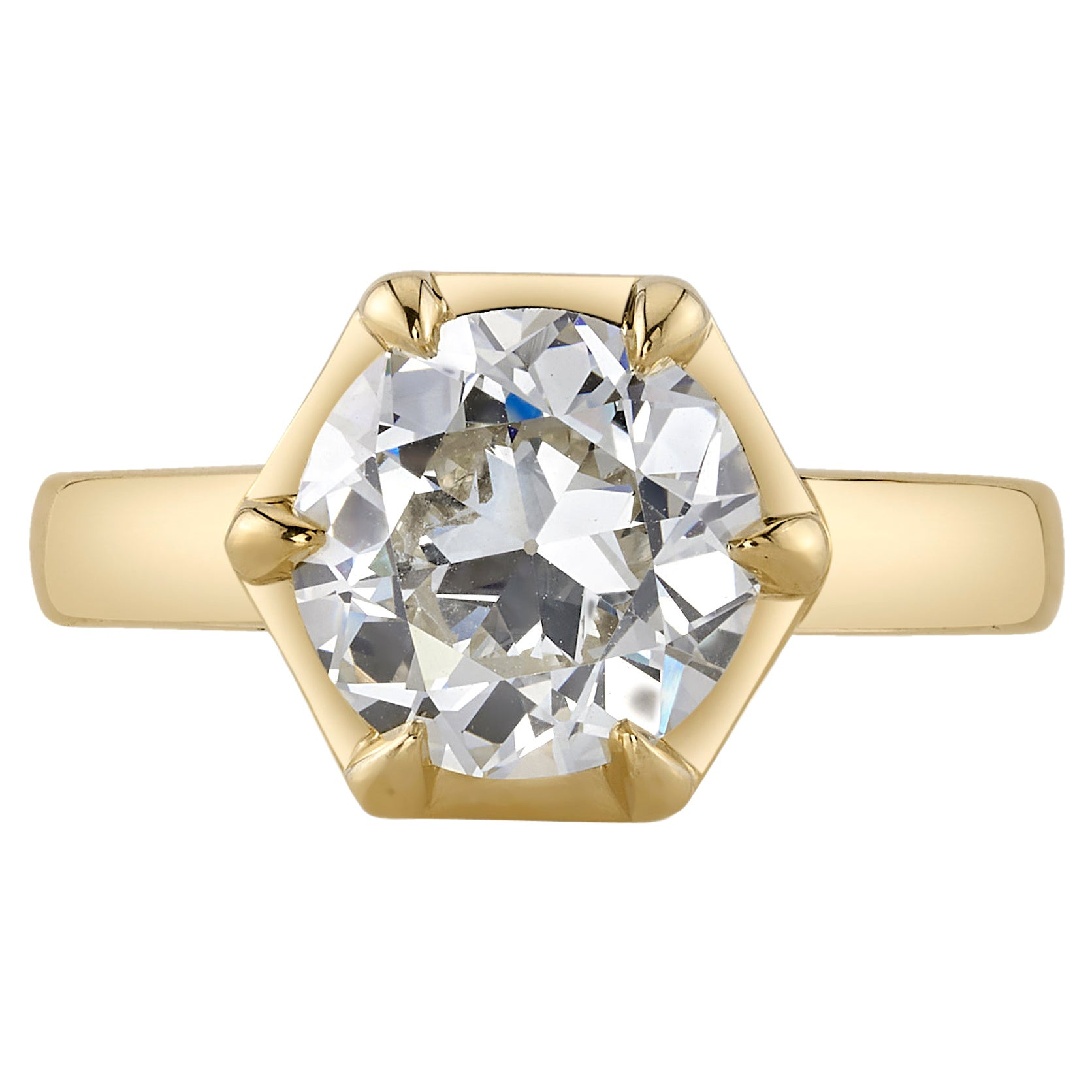 Handcrafted Odette Old European Cut Diamond Ring by Single Stone
