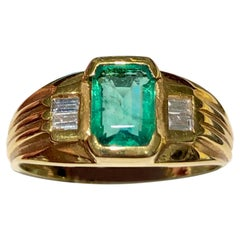 Colombian Emerald, Emerald Cut Diamond Solitaire Vintage Ring