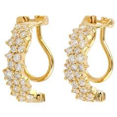 1.28 Carats Diamond 18 Karat Gold Cluster Earrings