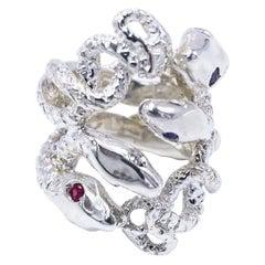 Snake Ring Statement Silver Cocktail Ring White Diamond Ruby Tanzanite J Dauphin