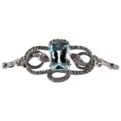 "8.60 Carat Aquamarine 1.25 Carat White Diamond White Gold ""Snakes"" Bracelet"
