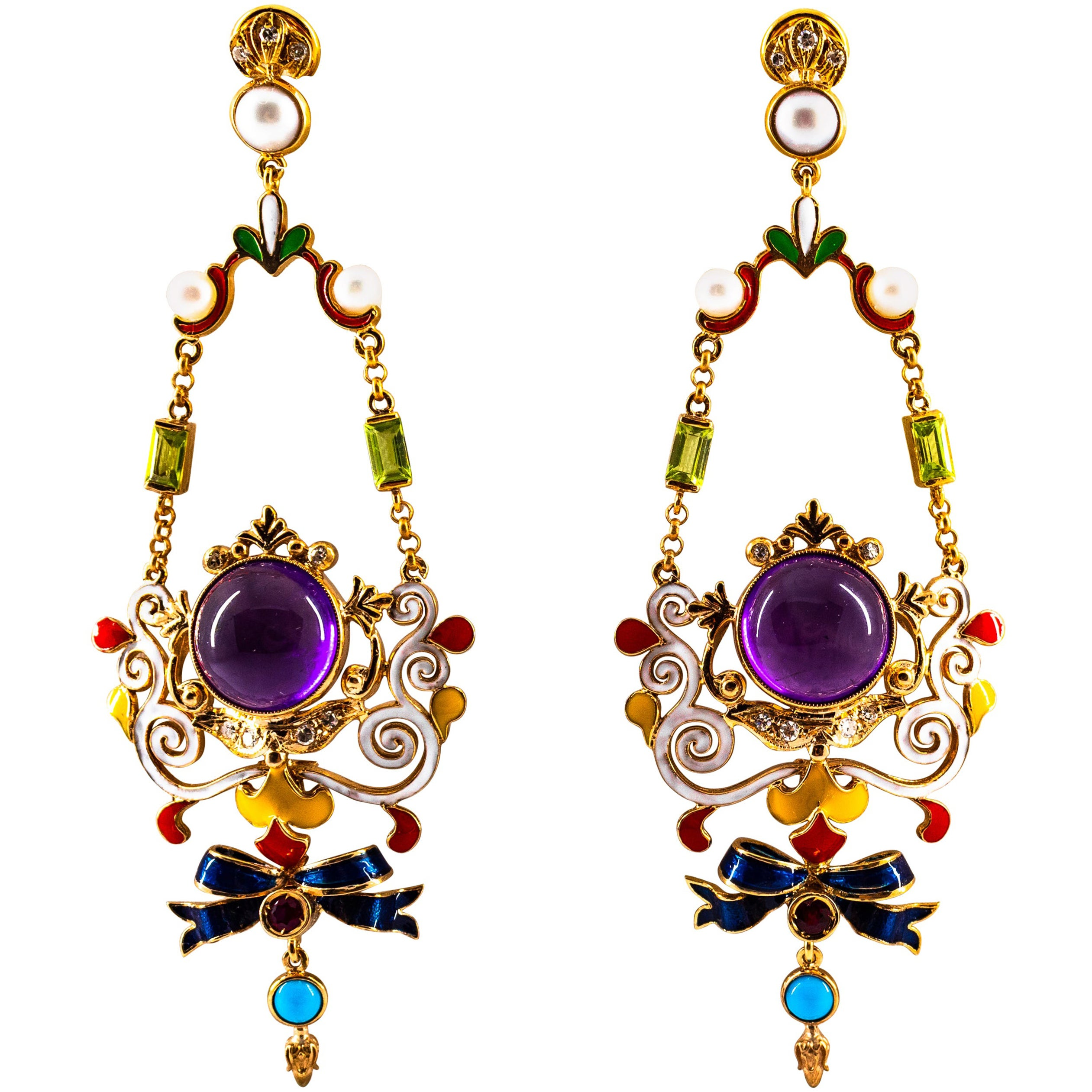 White Diamond Ruby Amethyst Turquoise Peridot Pearl Yellow Gold Clip-On Earrings