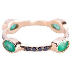 Deco Style 18 Karat Gold Emerald 0.70 Karats Black Diamonds Stacking Ring