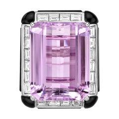 Art Deco Style Kunzite Ring with Diamond & Black Onyx in 18 Karat White Gold