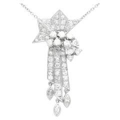 Antique 1.10 Carat Diamond and Palladium Tassel Pendant Art Deco, Circa 1935