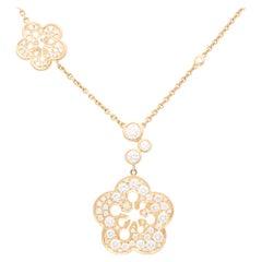 Vintage Boodles Large Blossom Diamond Pendant Necklace Set in 18k Rose Gold