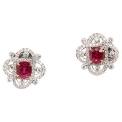 GRS Certified 3ct Burmese 'Pigeon Blood' Ruby and Diamond Earring in 18K Gold