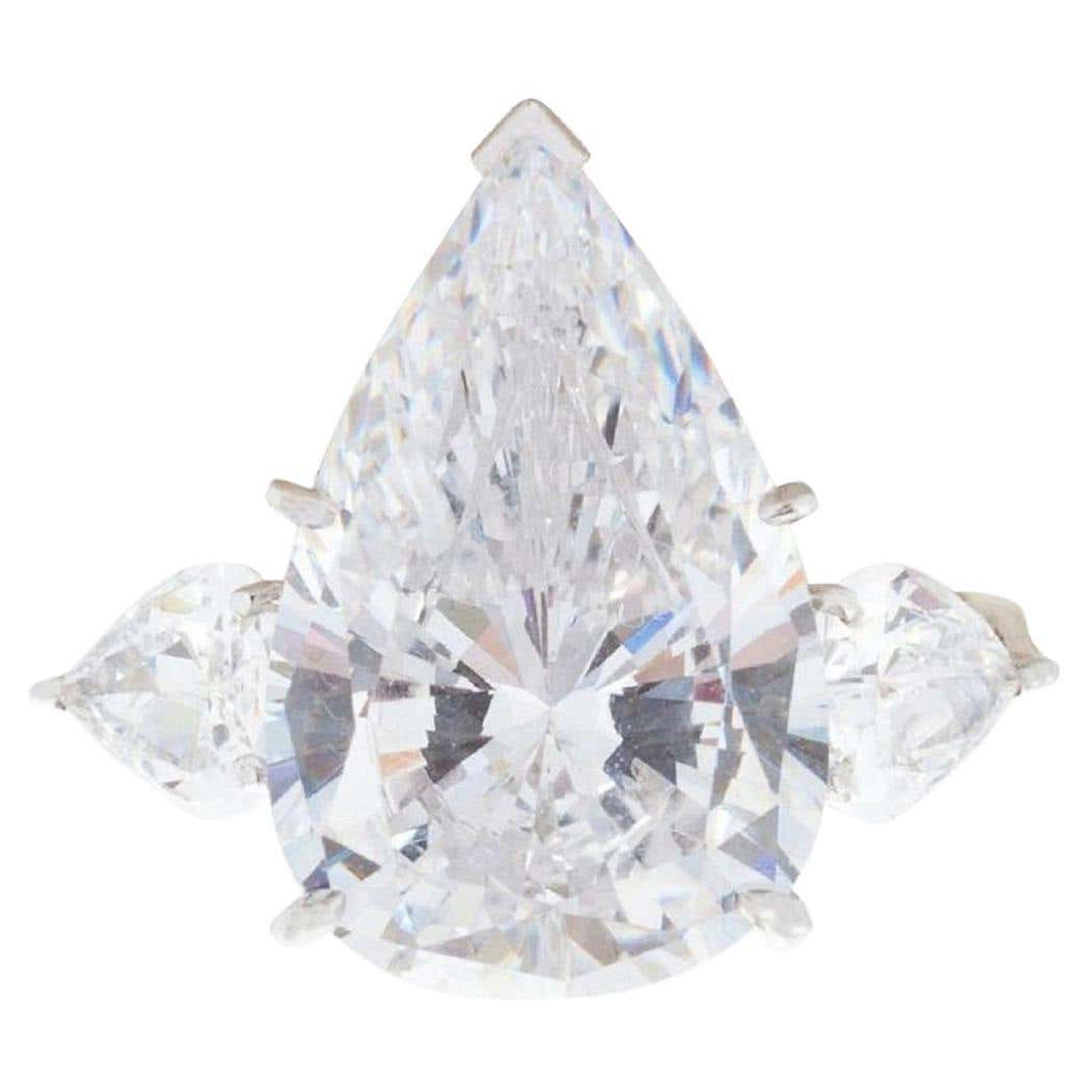 Exceptional Type 2A Flawless GIA Certified 17 Carat Pear Cut Diamond Ring
