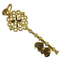 18K Yellow Gold Love Heart Key Charm Pendant