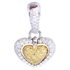 Fancy Yellow White Diamonds Heart Pendant 18K Gold Italy, 2000