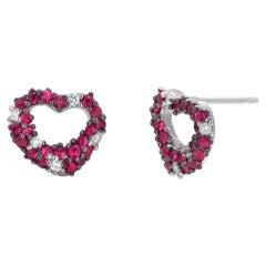 Ruby and Diamond Heart Shape White Gold Stud Earrings