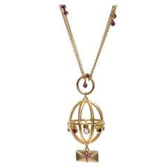 Ammanii Garnet Chain Necklace with Charms in Vermeil Gold