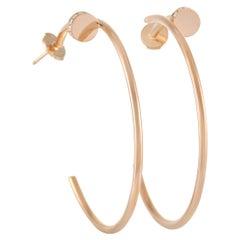 Cartier Juste un Clou 18K Rose Gold Diamond Hoop Earrings