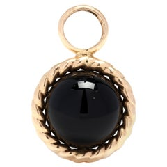 14KT Gold & Black Onyx Bead Pendant with Rope Border