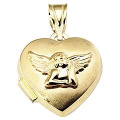 14 Karat Yellow Gold Guardian Angel Heart Locket Pendant