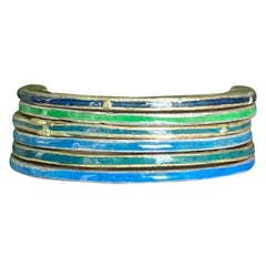 18K Gold and Fine Silver Enamel Rings Unisex Band
