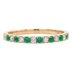 Diamond Emerald Band, Yellow Gold Wedding Ring, Green Emeralds and White Diamond
